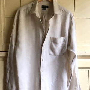J Crew Flax Linen Button-Down L Vintage